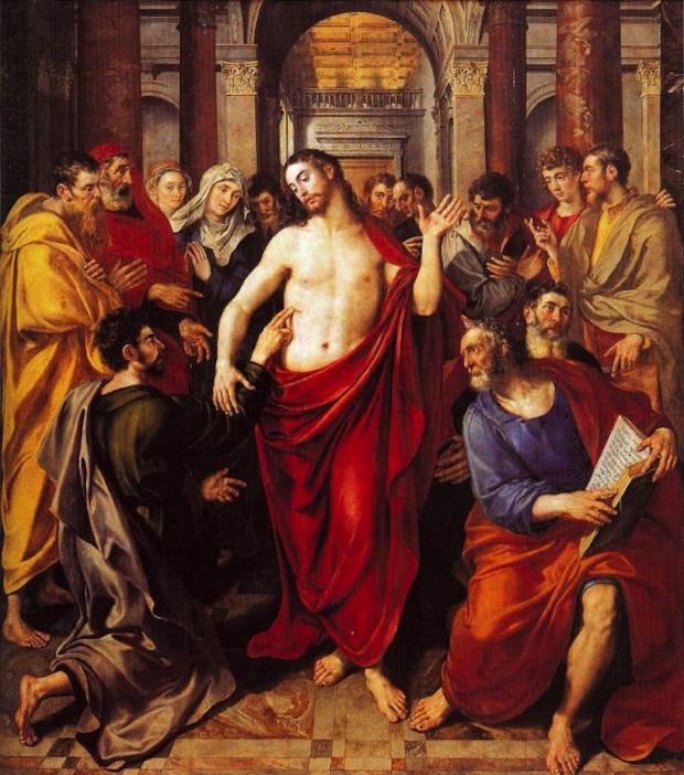 Ο Θωμάς ψηλαφεί τα σημάδια στις πληγές του Χριστού