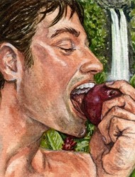 """Ο Αδάμ τρώει το <a style=""""font-weight:normal;"""" href=""""https://coolweb.gr/milo-kovoume-ginetai-kafe/"""" title=""""Γιατί όταν κόψουμε ένα μήλο γίνεται καφέ μετά από λίγη ώρα;"""">μήλο</a> που του έδωσε η Εύα"""