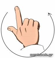 κουνήστε το δεξί χέρι αριστερόστροφα