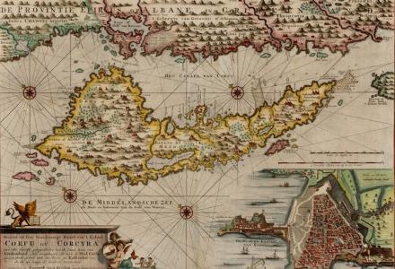 παλιός χάρτης της κέρκυρας